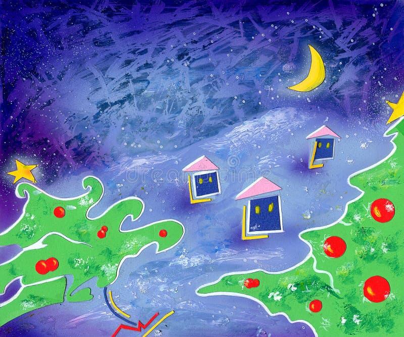 Het dorp van Kerstmis royalty-vrije illustratie