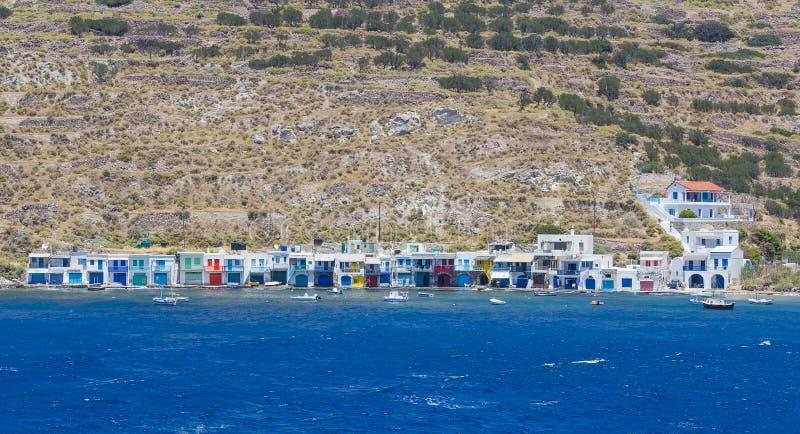 Het dorp van Klima, Milos eiland, Cycladen, Griekenland royalty-vrije stock foto's
