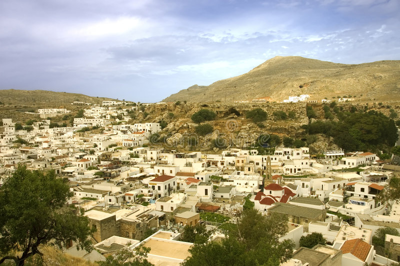 Het dorp van Lindos stock afbeelding