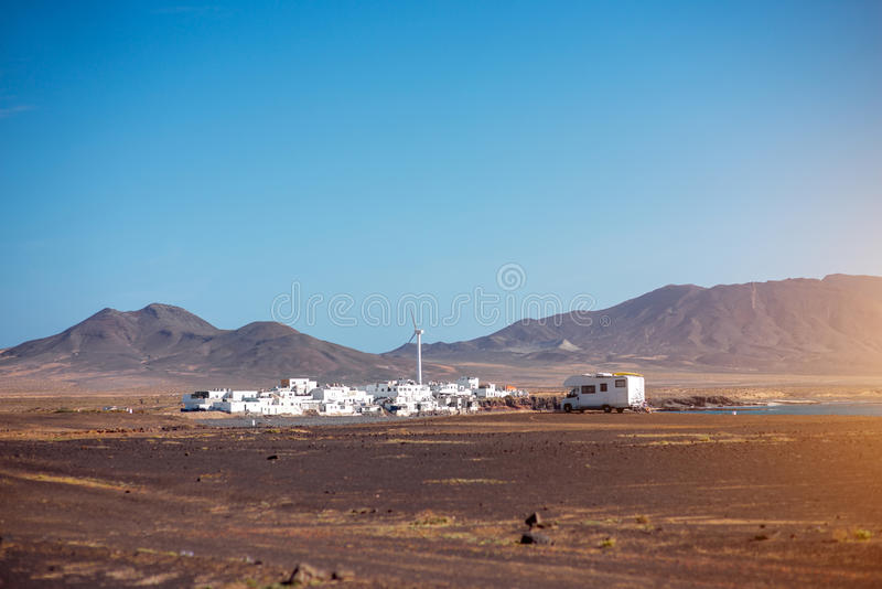 Het dorp van Puerto de la Cruz op Fuerteventura-eiland royalty-vrije stock fotografie