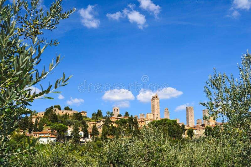 Het dorp van San Gimignano, Toscanië, Italië royalty-vrije stock fotografie