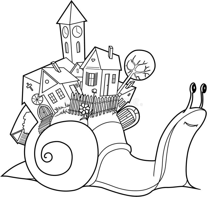 Het dorp van slakken stock illustratie