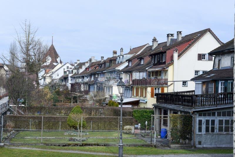 Het dorp van Sursee op Zwitserland stock afbeelding