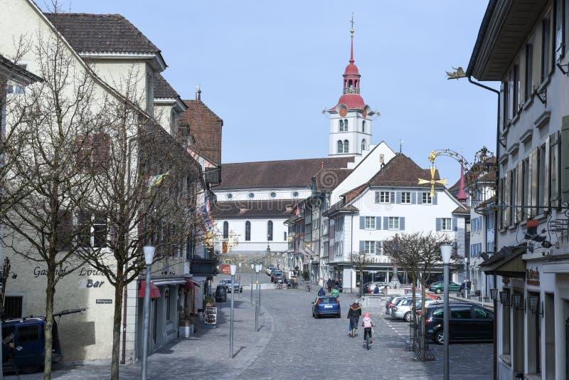 Het dorp van Sursee op Zwitserland stock fotografie