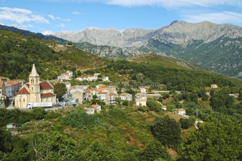 Het dorp van Vivario, Corsica stock foto