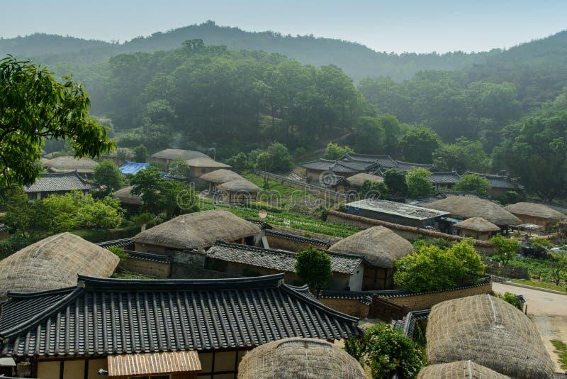 Het Dorp van Yangdonghanok of het bewaarde traditionele dorp in Gyeongju-stad, Zuid-Korea royalty-vrije stock foto