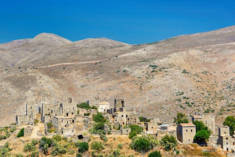 Het dorp Vatheia in Mani, Griekenland stock foto's