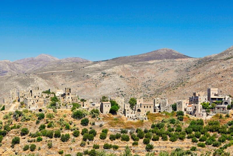 Het dorp Vatheia in Mani, Griekenland stock foto