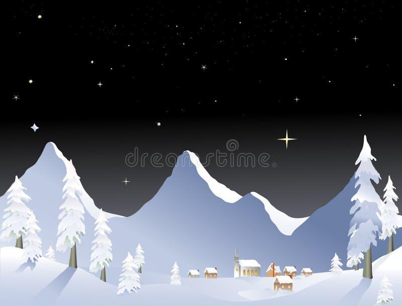 Het dorpsnacht van de berg vector illustratie