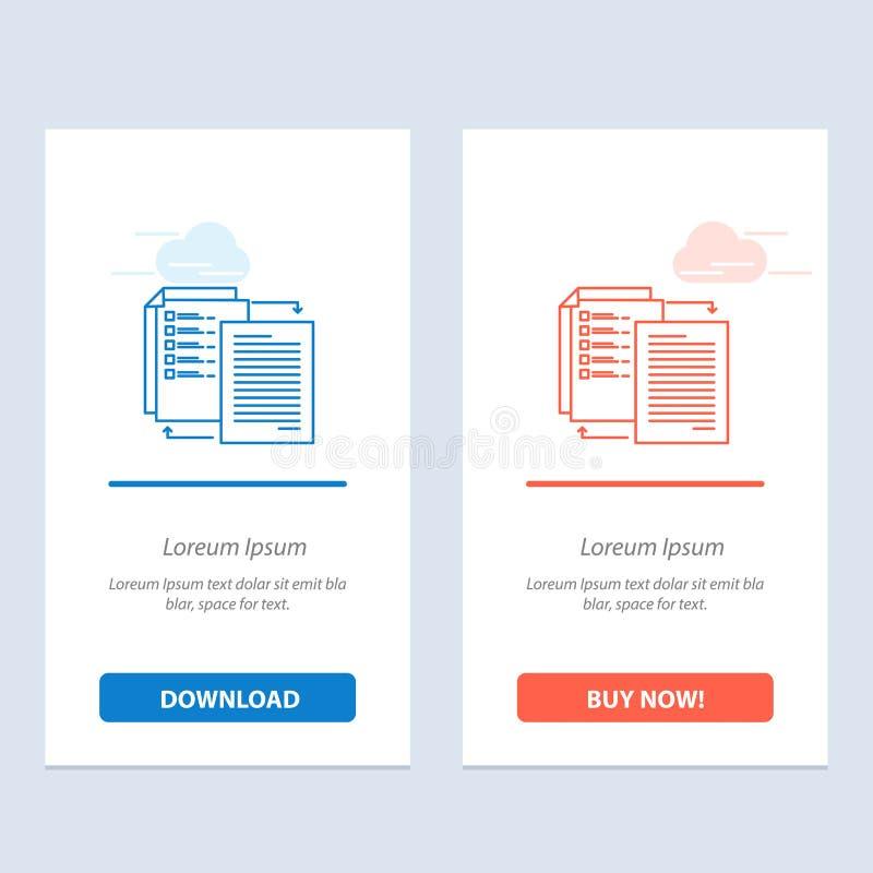 Het dossier, Aandeel, Overdracht, Wlan, deelt het Blauwe en Rode Download en koopt nu de Kaartmalplaatje van Webwidget royalty-vrije illustratie