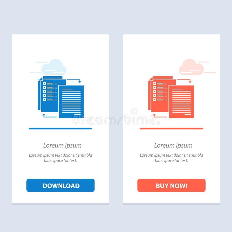 Het dossier, Aandeel, Overdracht, Wlan, deelt het Blauwe en Rode Download en koopt nu de Kaartmalplaatje van Webwidget vector illustratie