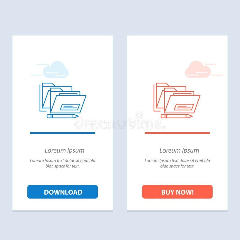 Het dossier, de Omslag, de Datum, de Veilige Blauwe en Rode Download en kopen nu de Kaartmalplaatje van Webwidget vector illustratie