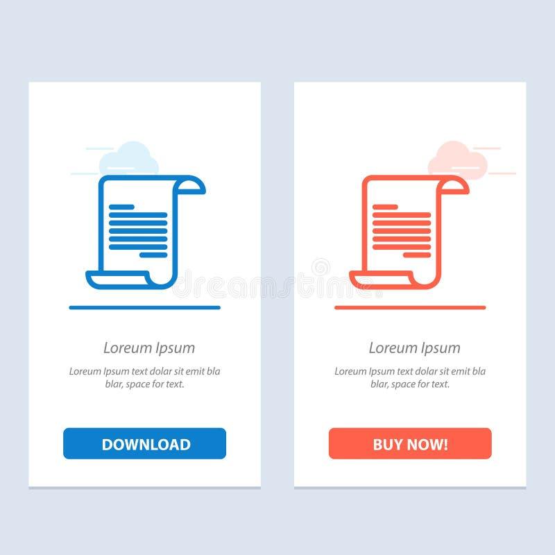 Het dossier, de Tekst, de Blauwe en Rode Download van Griekenland en kopen nu de Kaartmalplaatje van Webwidget stock illustratie