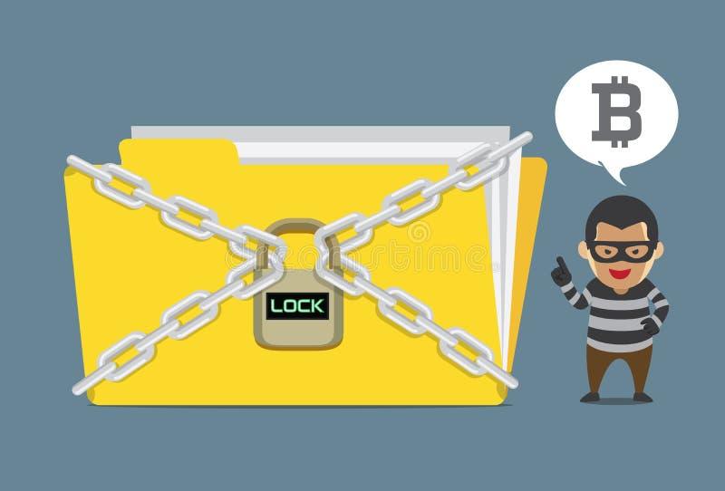 Het dossier van het hakkerslot en de de vraagbetaling om vrij te laten zijn Bitcoin vector illustratie