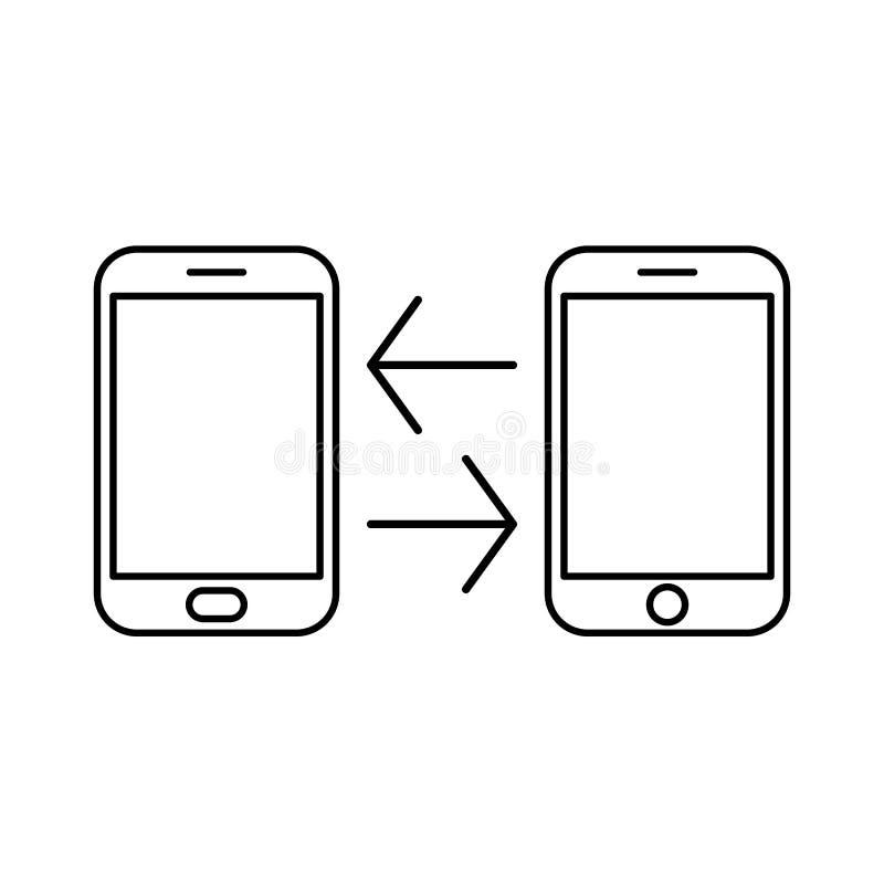 Het dossieroverdracht van het gegevensbeeld tussen apparatensmartphone Van het exemplaardossiers van de dossieroverdracht van het royalty-vrije illustratie