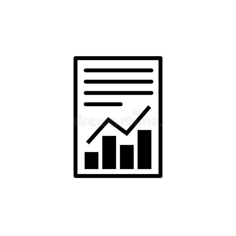 Het dossierpictogram van de rapporttekst Document met grafieksymbool stock illustratie