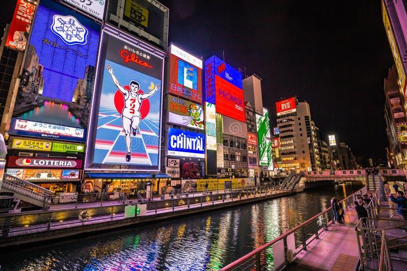 Het Dotonbori-Kanaal in het Namba-District van Osaka royalty-vrije stock afbeeldingen