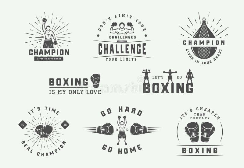 Het in dozen doen en de kentekens van het vechtsportenembleem en etiketten in uitstekende stijl Motievenaffiches met inspirationa vector illustratie