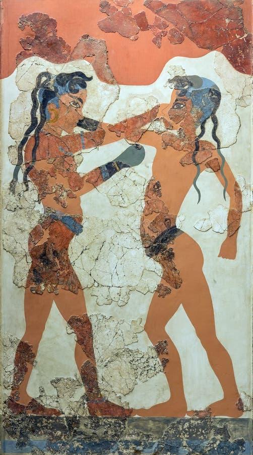 Het in dozen doen jongensfresko van Akrotiri, Santorini, 1550 V.CHR. stock fotografie