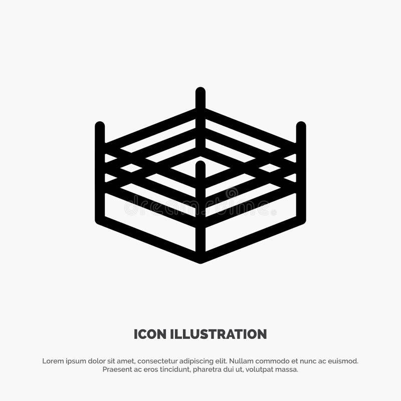 Het in dozen doen, Ring, het Worstelen de Vector van het Lijnpictogram royalty-vrije illustratie