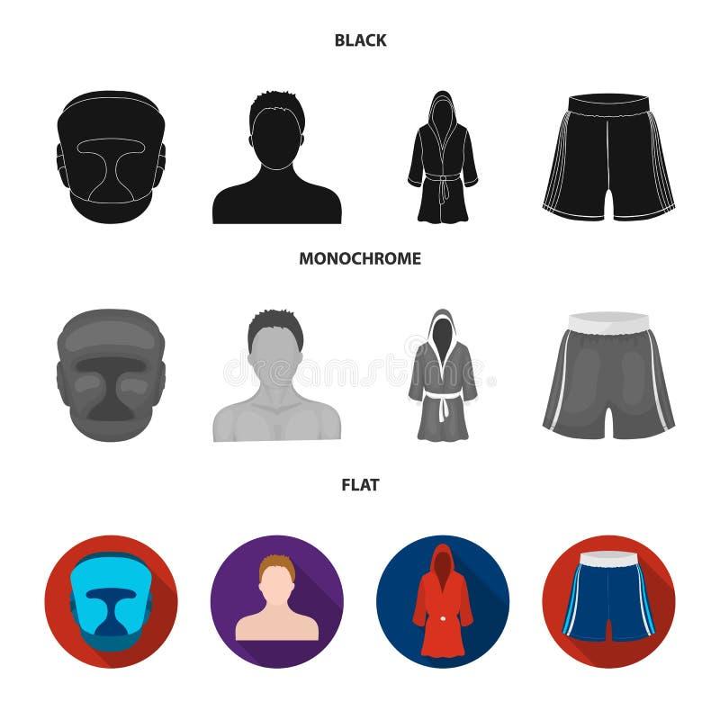 Het in dozen doen, sport, masker, helm Het in dozen doen van vastgestelde inzamelingspictogrammen in de zwarte, vlakke, zwart-wit vector illustratie