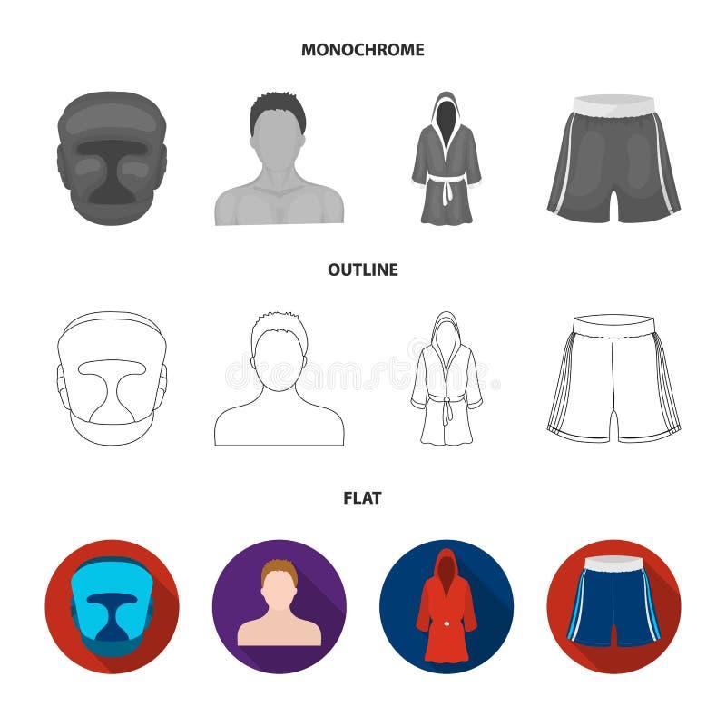 Het in dozen doen, sport, masker, helm Het in dozen doen van vastgestelde inzamelingspictogrammen in vlakte, overzicht, de zwart- vector illustratie