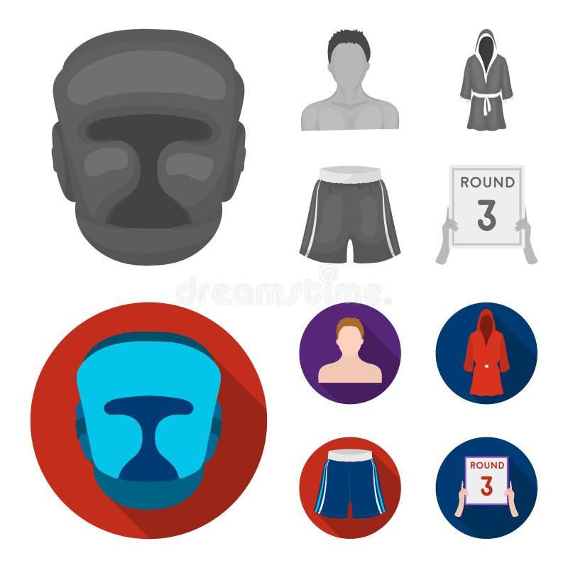 Het in dozen doen, sport, masker, helm Het in dozen doen van vastgestelde inzamelingspictogrammen in het zwart-wit, vlakke Web va stock illustratie