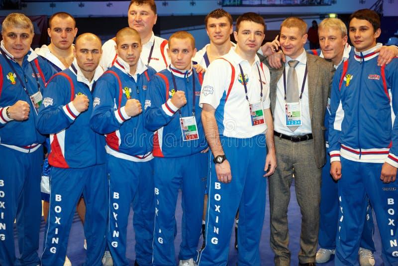 Het in dozen doende team van Moskou van Dinamo na bokswedstrijd stock foto