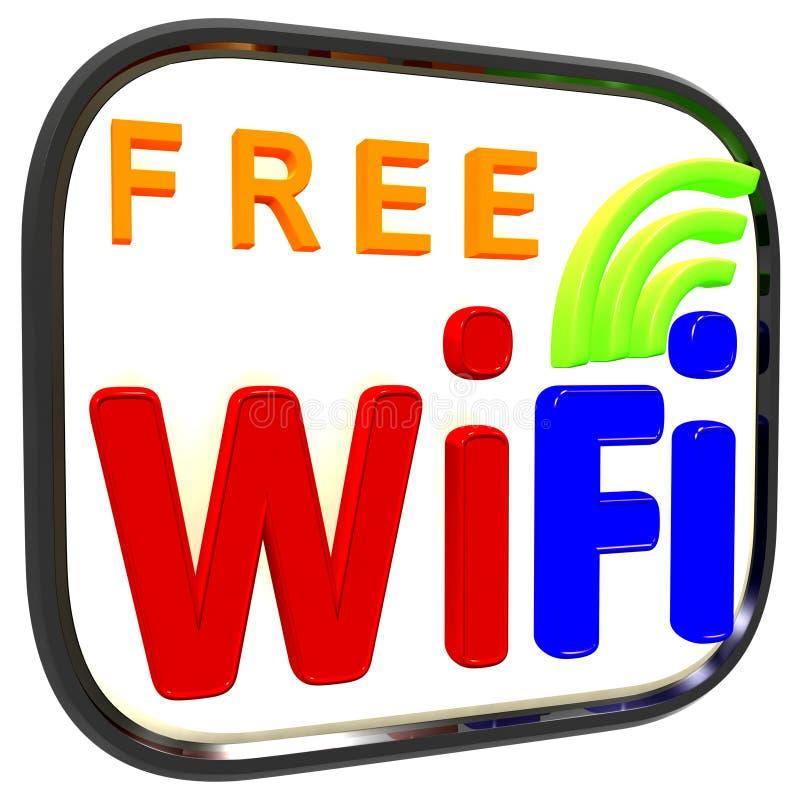 Het in dozen gedane Vrije Symbool van Wifi Internet toont Verbinding stock illustratie