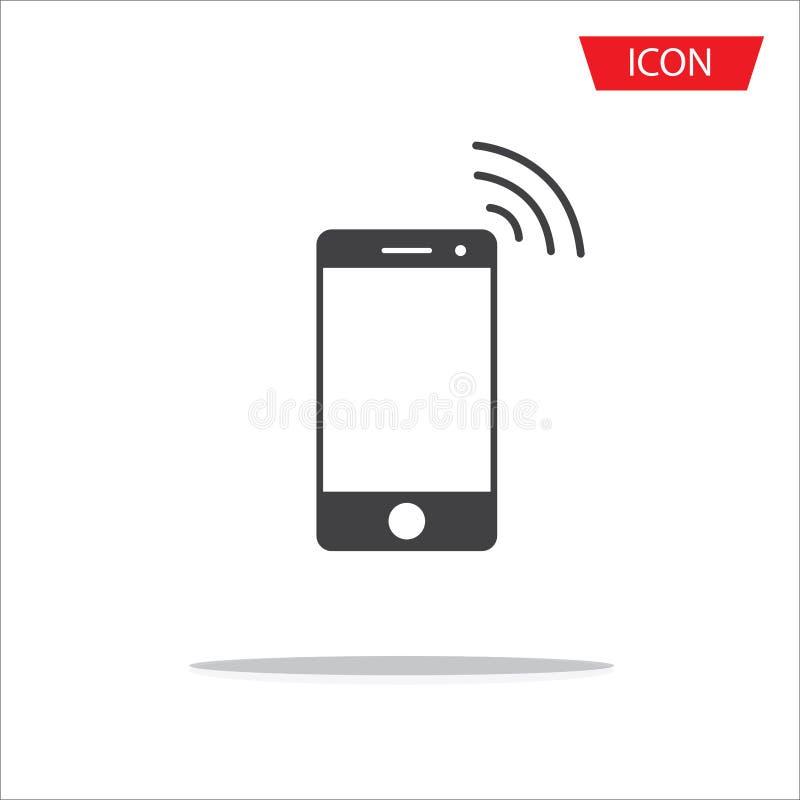Het draadloze draadloze die symbool van de pictogram vector mobiele telefoon op wh wordt geïsoleerd stock illustratie