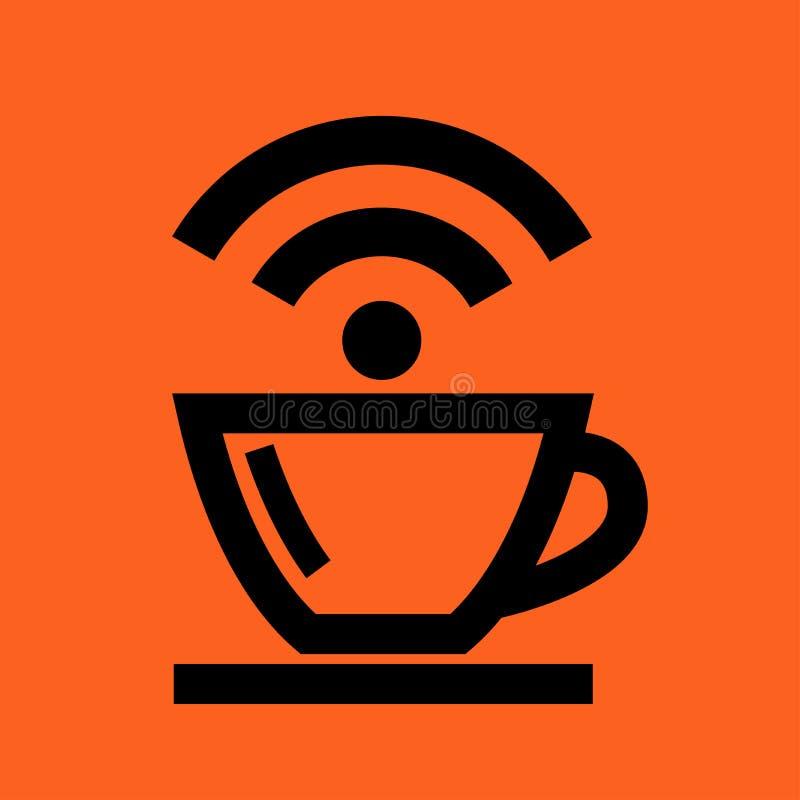 Het Draadloze Pictogram van de koffiekop vector illustratie