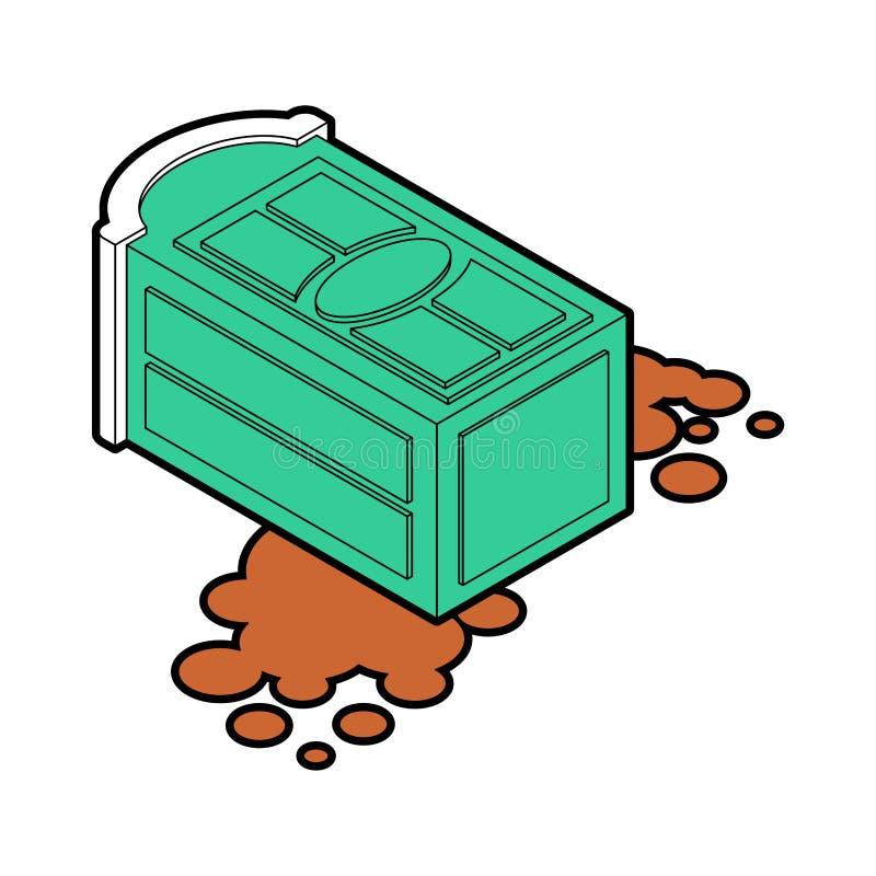 Het draagbare toilet viel en shit lekte Vector illustratie royalty-vrije illustratie