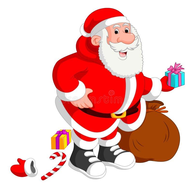 Het dragen van de Kerstman zakhoogtepunt van giften stock illustratie