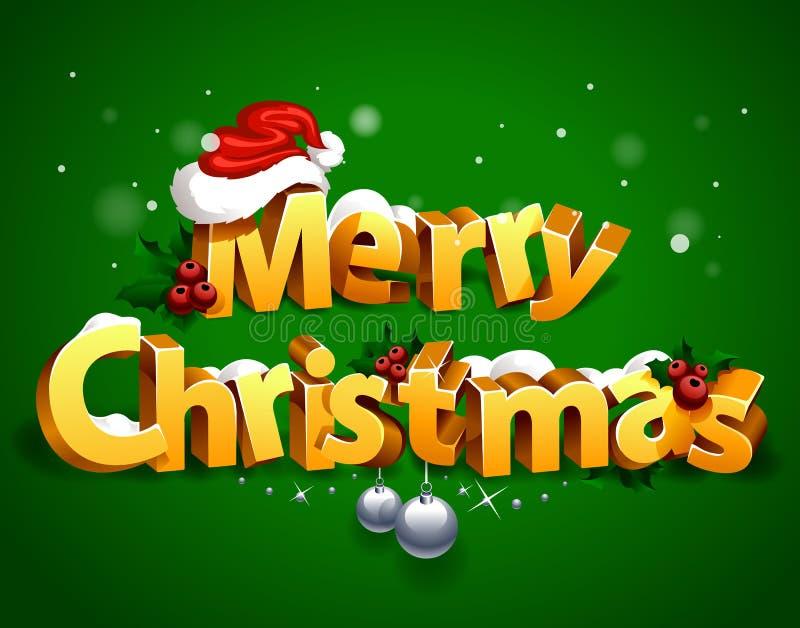 Het driedimensionele Kerstmis Van letters voorzien vector illustratie