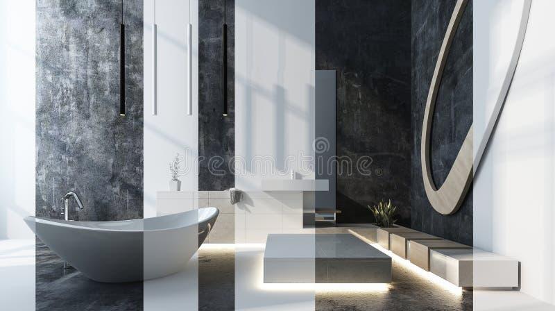 Het driedimensionele teruggeven van een moderne ruimte stock illustratie