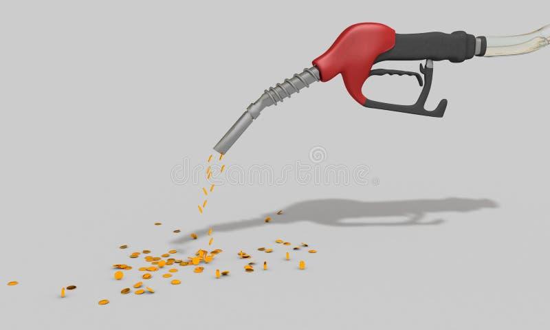 Het driedimensionele werk aangaande toenemende olieprijzen vector illustratie