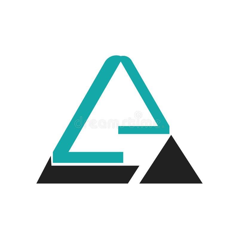 Het driehoekige vectordieteken en het symbool van het piramide grafische pictogram op witte achtergrond, het Driehoekige concept  stock illustratie
