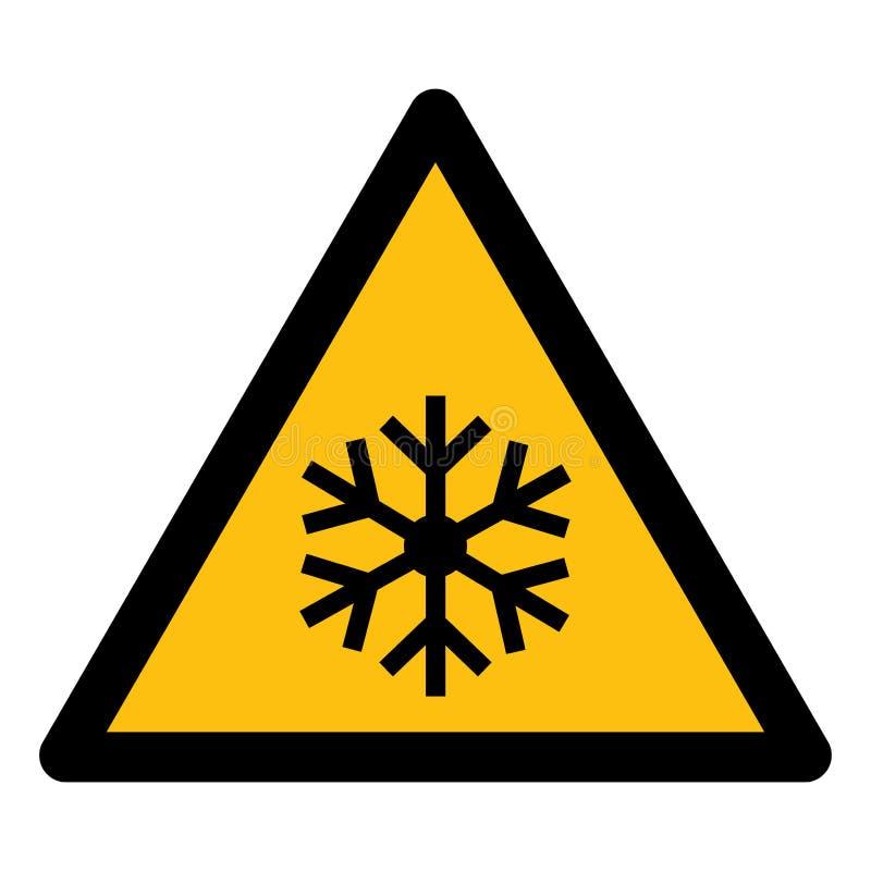 het driehoekswaarschuwingsbord met sneeuwvloksymbool isoleert op Witte Achtergrond, Vectorillustratie EPS 10 royalty-vrije illustratie