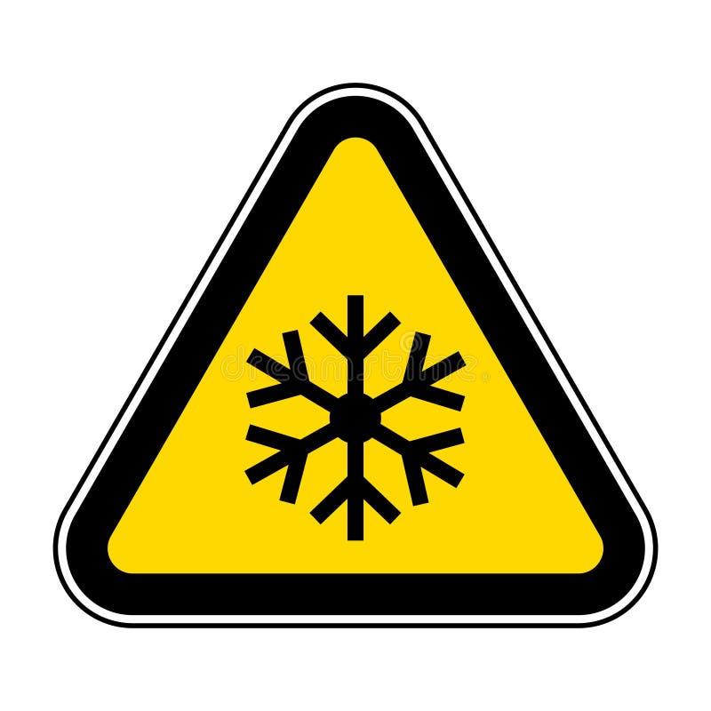 het driehoekswaarschuwingsbord met sneeuwvloksymbool isoleert op Witte Achtergrond, Vectorillustratie EPS 10 vector illustratie