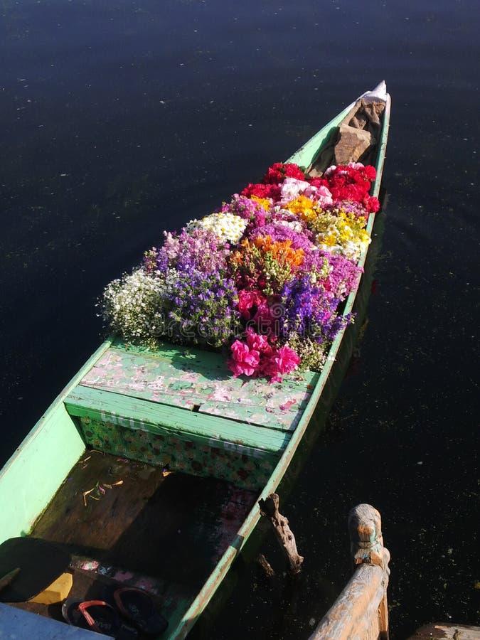 Het drijven bloemenmarkt in Kashmir stock afbeelding