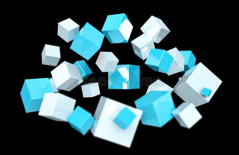 Het drijven het blauwe en witte glanzende kubus 3D teruggeven stock illustratie