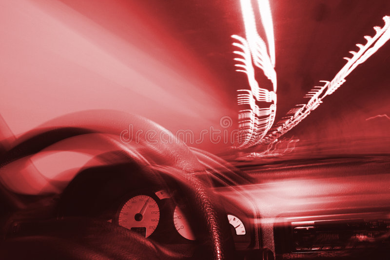Het drijven in tunnel en lichten stock foto