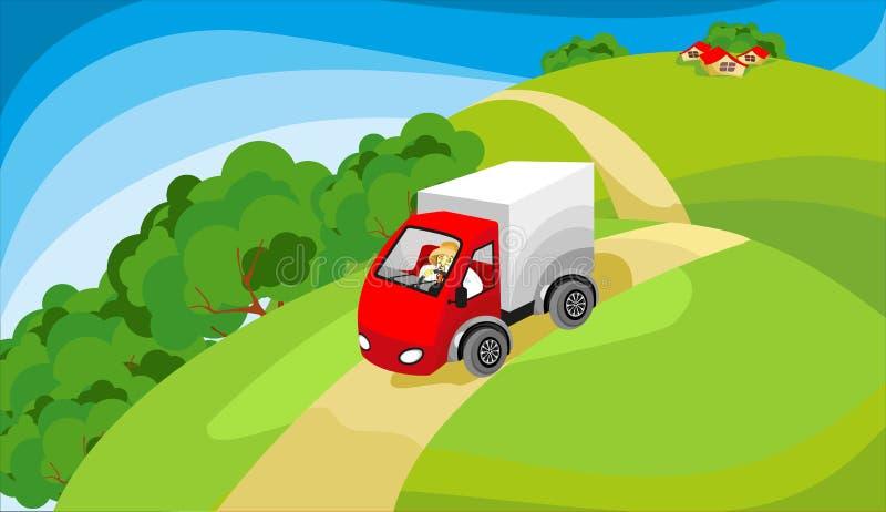 Het drijven van de vrachtwagen bij de landweg vector illustratie