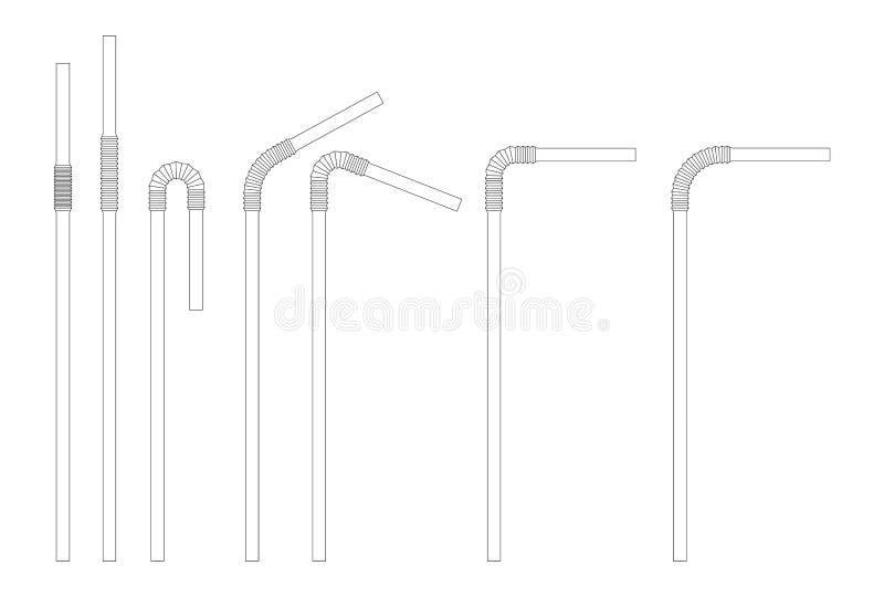 Het drinken de reeks van de stroschets Rechtstreeks en gebogen plastic cocktailbuis Vectorkrabbelillustratie vector illustratie