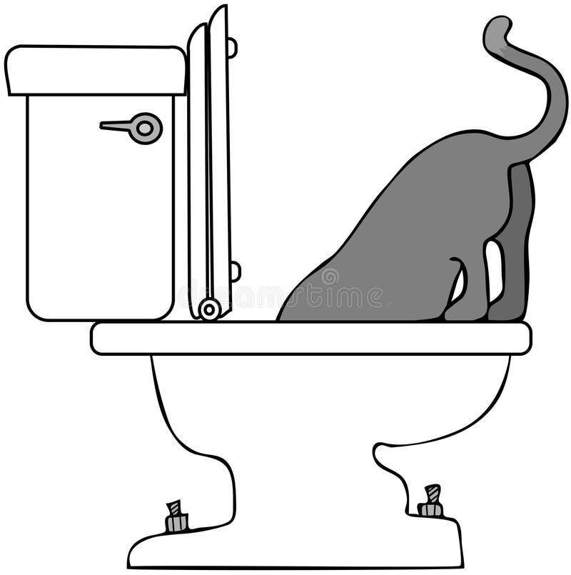 Het Drinken van de kat van Toilet royalty-vrije illustratie