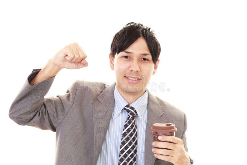 Het Drinken van de mens Koffie stock foto's