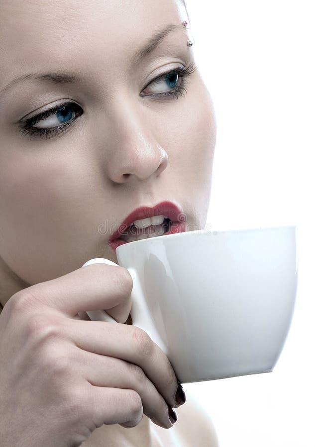 Het drinken van de schoonheid royalty-vrije stock afbeelding