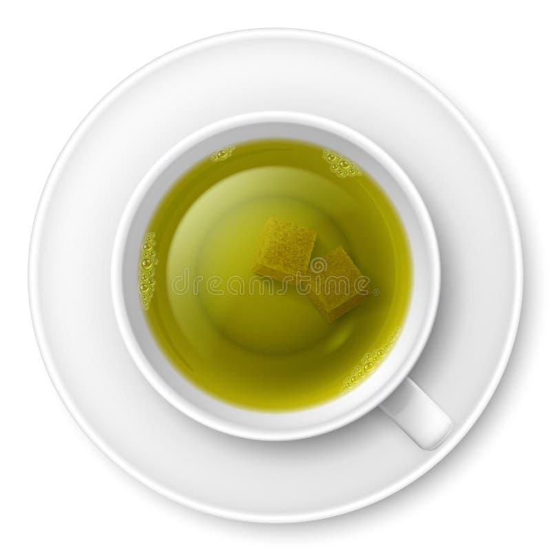 Het drinken van de thee stock illustratie