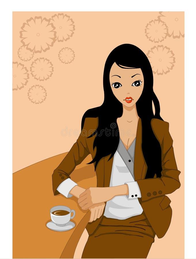 Het drinken van de vrouw koffie bij staaf royalty-vrije illustratie