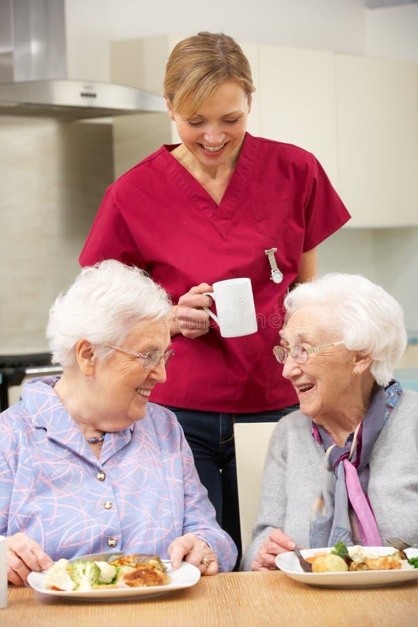 Het drinken van de werker uit de hulpverlening thee met bejaarde twee royalty-vrije stock foto's